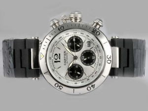 Quintessential Cartier Pasha Chronograph Automatisk Silver Dial med gummi rem AAA Klokker [R1S5]
