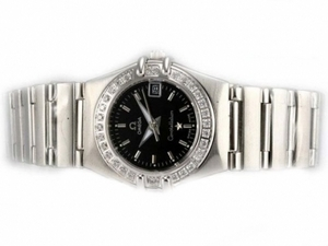 Perfect Omega Constellation Diamond Bezel met Black Dial-Lady Size AAA Watches [O4O7]