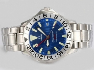 Perfect Omega Seamaster Working GMT Automatic met Blue Dial AAA Horloges [I9N7]