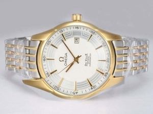 Populaire Omega Hour Vision See Thru Case Automatische Two Tone met witte wijzerplaat AAA Watches [N5G4]